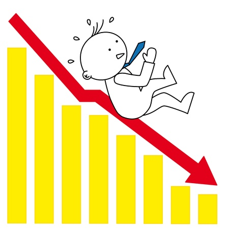 economist: Graphic declining. Businessman falling by arrow