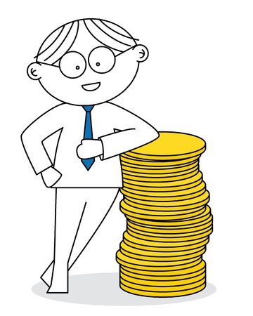 lucky man: Lucky man with a stack of coins Illustration