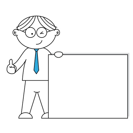 carta da lettere: Uomo d'affari che presenta un foglio bianco. Concetto di messaggio.