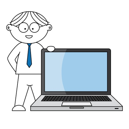 businessman supported by laptop Vector