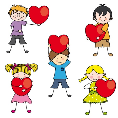 baby stickers: Group of children with a heart Illustration