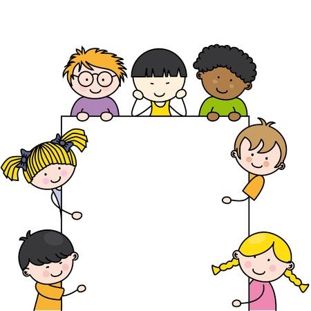 cartoon school girl: Los ni�os de dibujos animados lindo marco Vectores