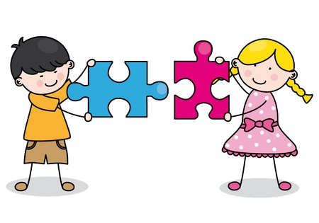 people puzzle: Child with puzzle pieces