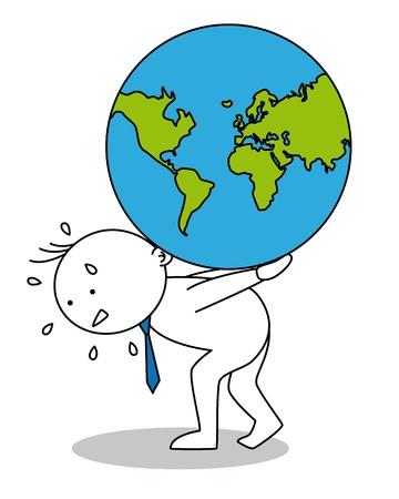 homelessness: Uomo con il globo