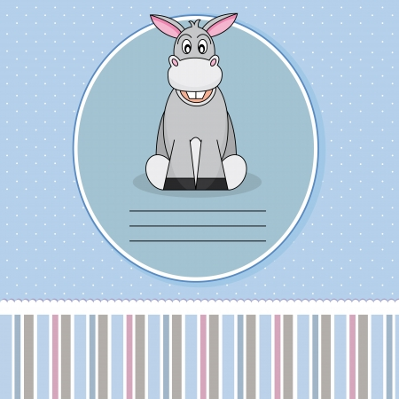 Funny birthday card with a donkey Vector