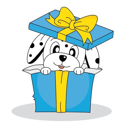 dalmata: Cane dalmata in una confezione regalo