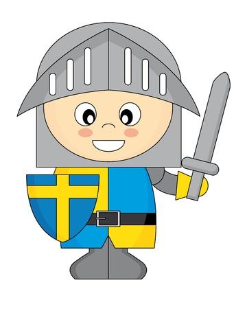 little boy cartoon: Illustration of little knight