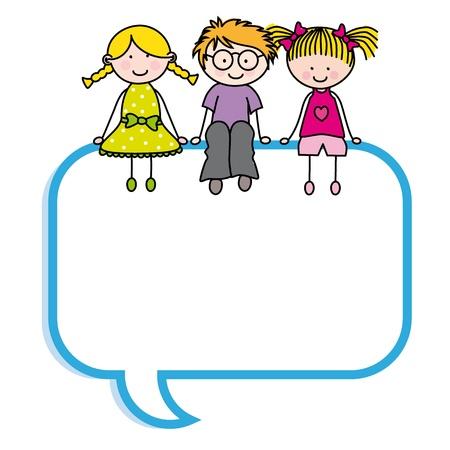 I bambini si siedono in un fumetto