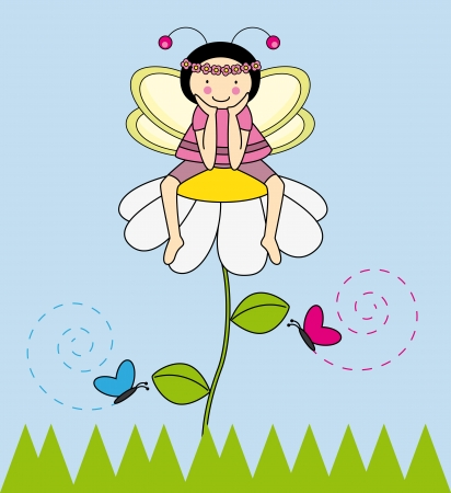 Fairy sitting on a flower Illustration