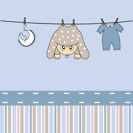 babero: Llegada del beb� anuncio de la tarjeta