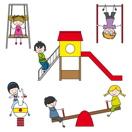 objects equipment: Illustration of kids playing at the park Illustration
