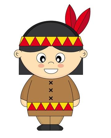 indios americanos: disfrazados de niños indios americanos Vectores