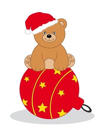 osos navideños: Oso sentado encima de una bola de Navidad Vectores