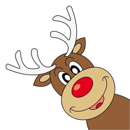 renos de navidad: Reindeer deseando Feliz Navidad Vectores