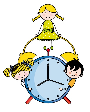 cartoon school girl: Children with an alarm clock