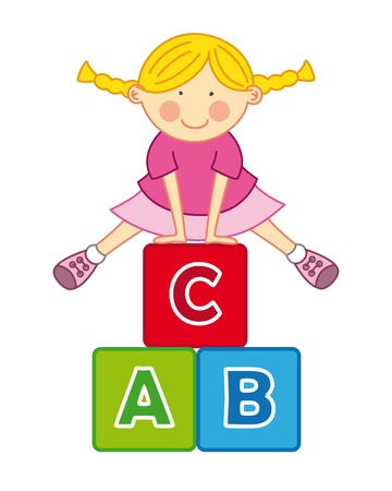 abc blocks: Little girl playing with blocks abc Illustration