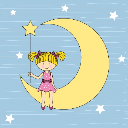 girl sitting on the moon Vector
