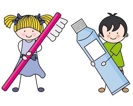 cepillarse los dientes: Los ni�os que cuidan de ilustraci�n dientes