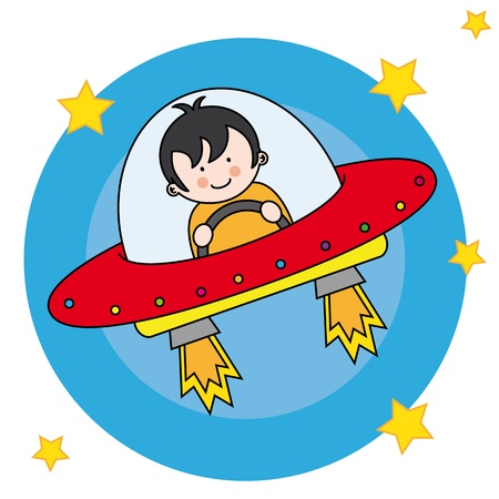 spacecraft: Child flying a spaceship