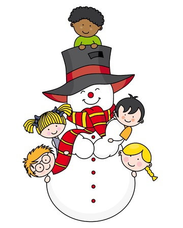 Children playing with a snowman