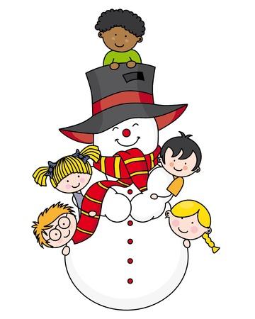 Niños jugando con un muñeco de nieve Vectores