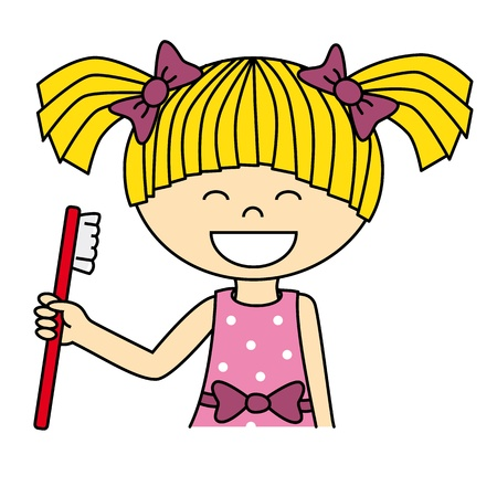Girl brushing her teeth Stock Vector - 16217041