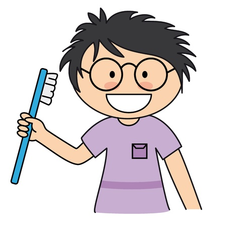 Boy brushing her teeth Vector