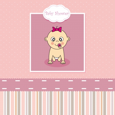 baby girl arrival: Baby girl arrival card Illustration