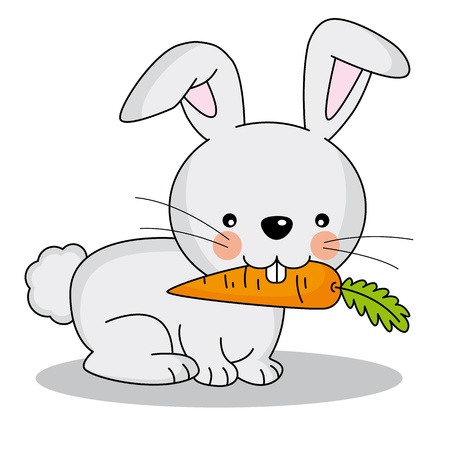 cartoon hare: rabbit eating a carrot Illustration