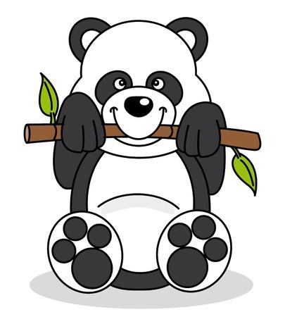 Panda eating bamboo branch