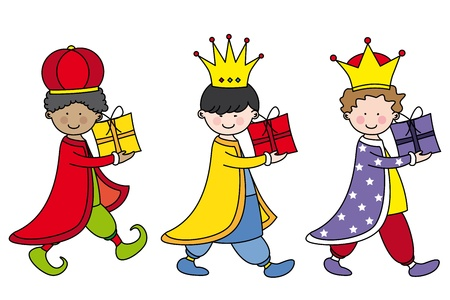 three children: Children dressed as the three kings bearing gifts