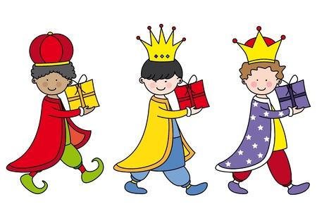 Kinderen verkleed als de drie koningen met geschenken Vector Illustratie