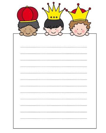 oorkonde: Brief aan de Drie Koningen Stock Illustratie