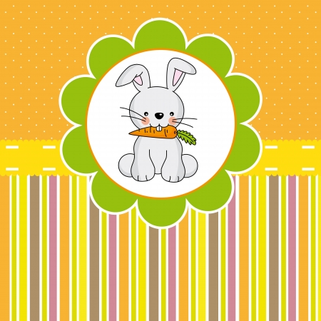 Rabbit eating a carrot. Card easter Vector