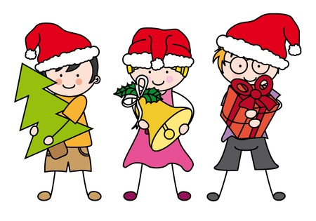 Children dressed as Santa Claus Vector