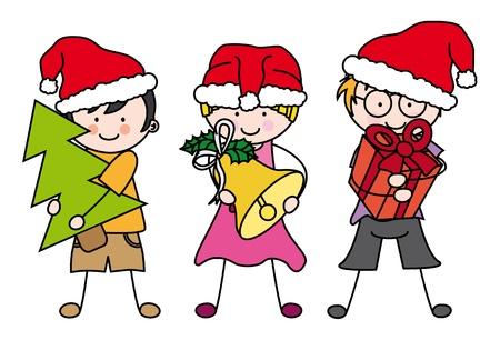 decorating christmas tree: Children dressed as Santa Claus