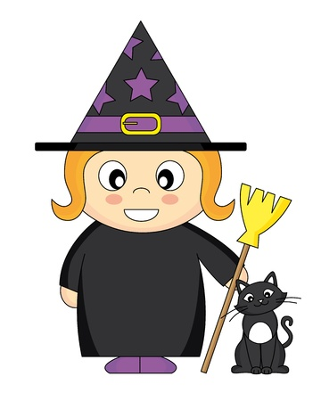Girl dressed as witch with broom and a cat Vector