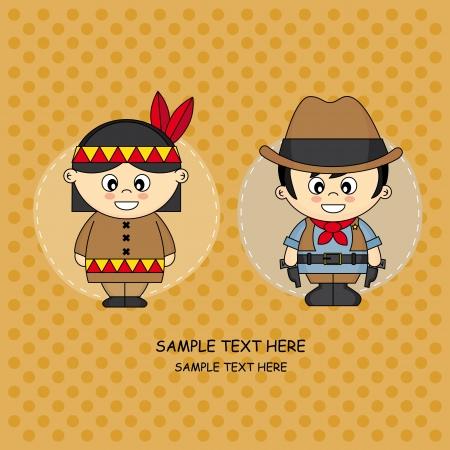 wild wild west: Bambini Greeting Card vestiti in cowboy e indiani