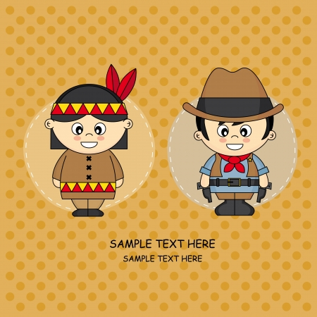 design costume: Greeting Card  Children dressed in cowboy and Indian Illustration
