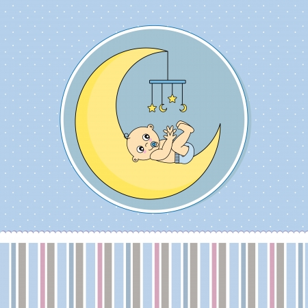 baby boy birth: Baby boy birth Greeting Card Illustration