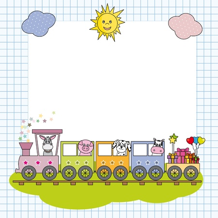 Frame with train and farm animals