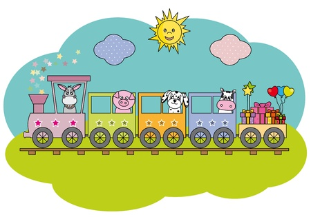 train and farm animals Vector