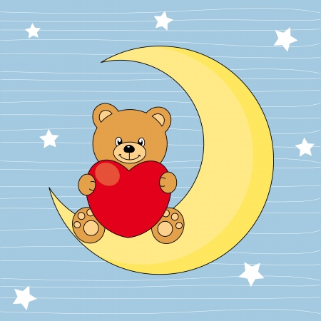 Bear sitting on the moon with a heart Vector