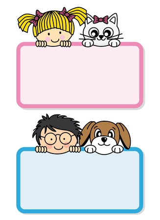 Children with their pets Vector