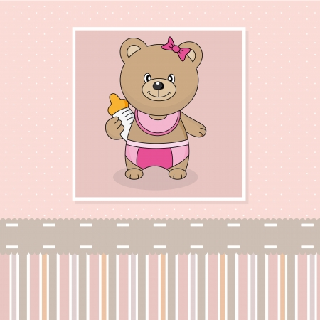 bear with baby bottle  Baby girl arrival announcement card Vector