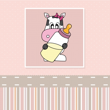 Cow with baby bottle. Birth Card baby girl Vector