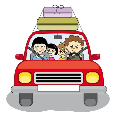 niño y niña: Familia se va de vacaciones en coche
