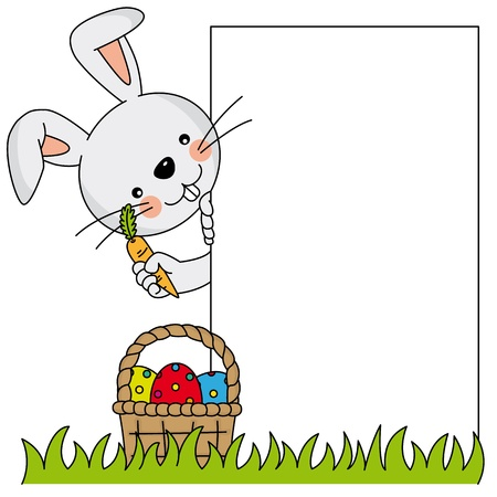 Easter bunny. poster.  Vector