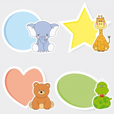 small group of animal: Stickers animals. Space for photo or text Illustration