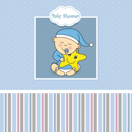 Baby boy birth card Stock Vector - 17343617
